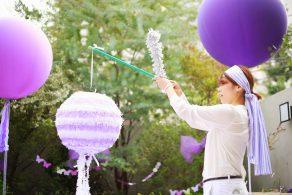 可愛い紫のバースデーパーティー