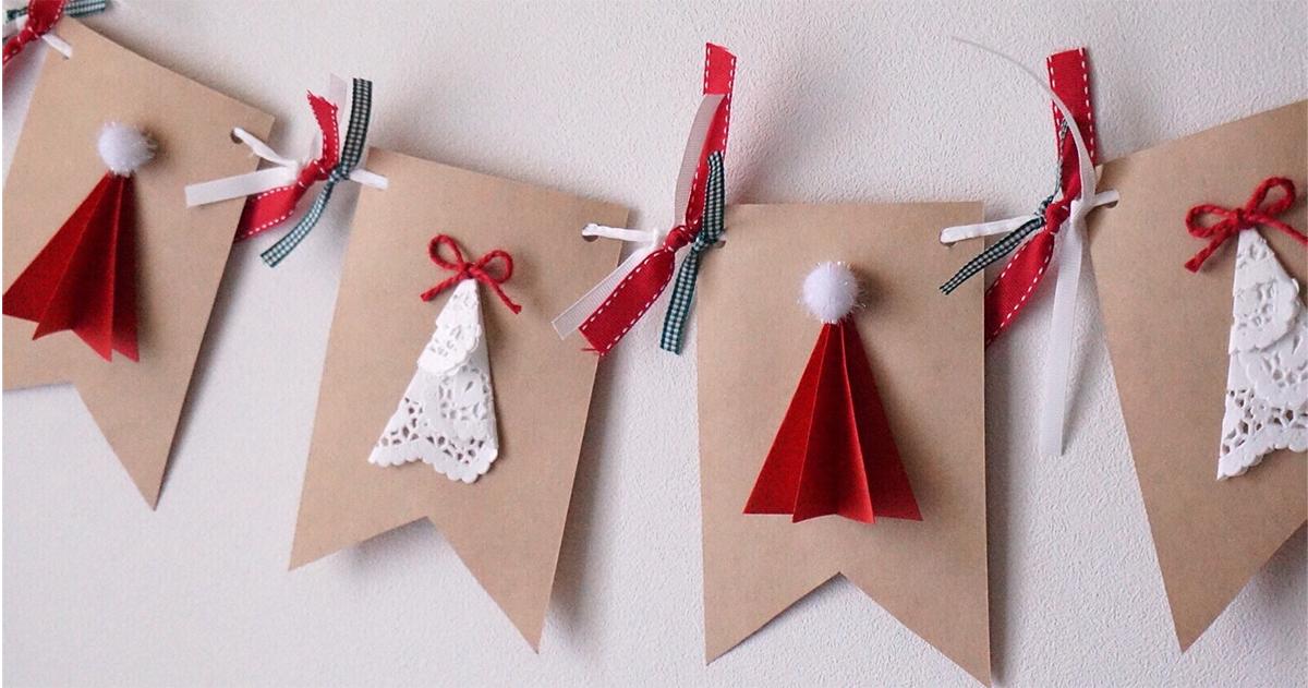 サンタ帽とクリスマスツリーが可愛い!クリスマスガーランドの作り方