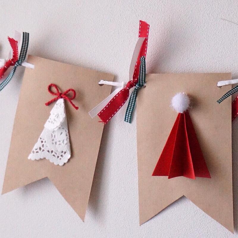 サンタ帽とクリスマスツリーが可愛い!ナチュラルクリスマスガーランドの作り方<br>|by yum-yum anniversary