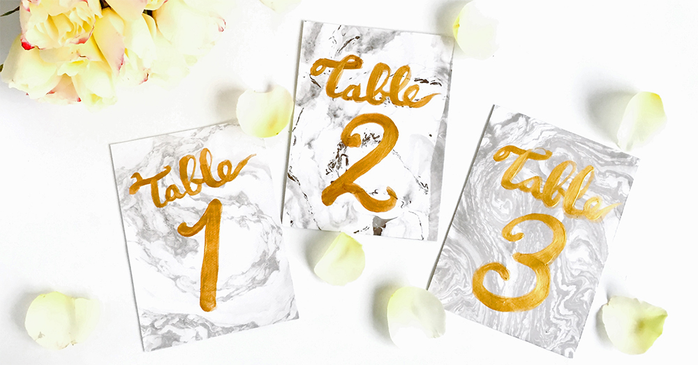 今年のトレンドを取り入れたマーブル柄テーブルナンバーの作り方