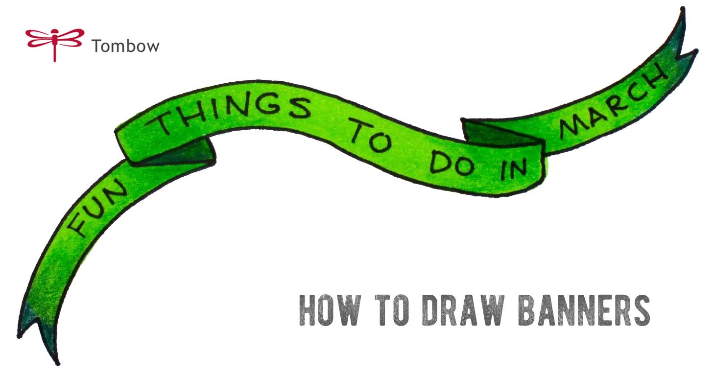 ハンドレタリングに便利!たったの3ステップで簡単リボンバナーの描き方