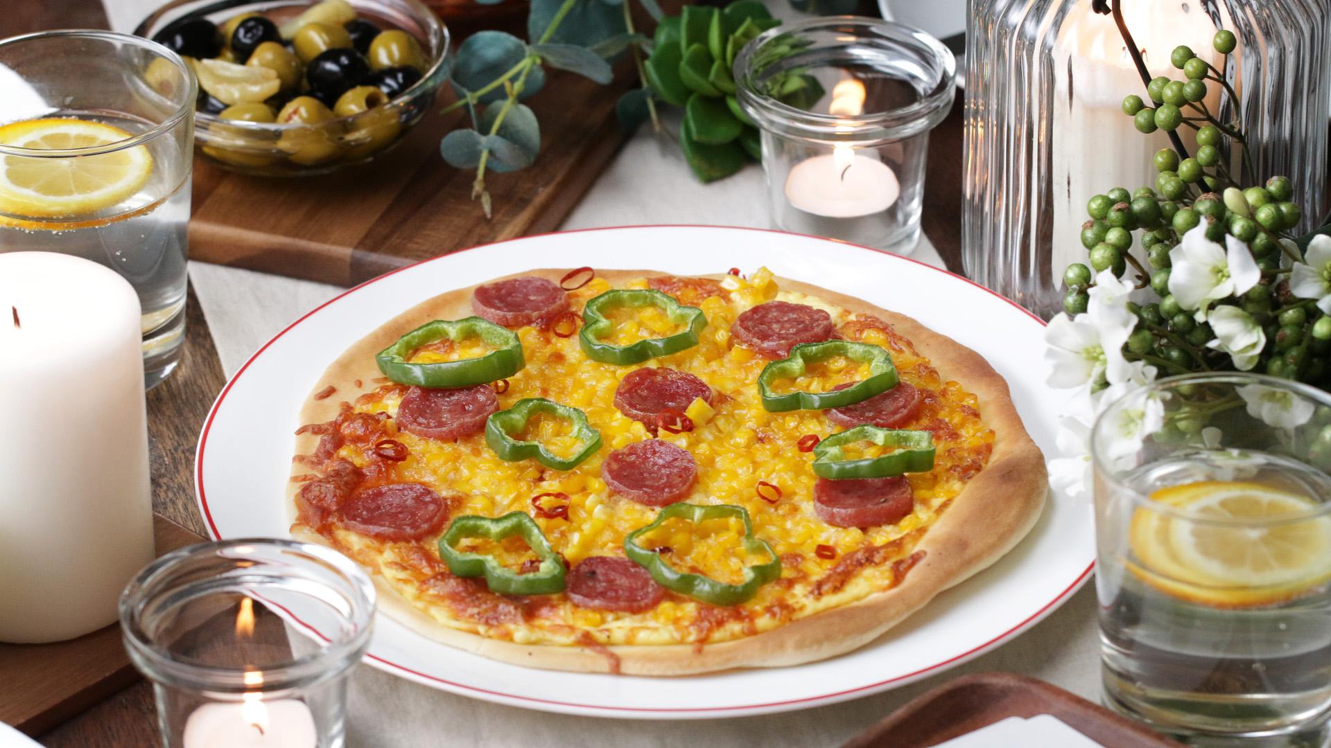 【動画】みんなでワイワイ食べたい!コーンとサラミのクリスピーピザの作り方