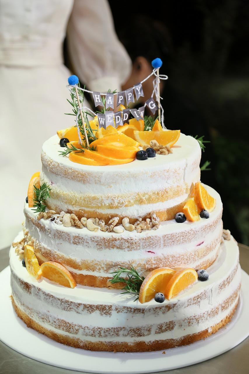 結婚式_ウェディングケーキ_ネイキッドケーキ