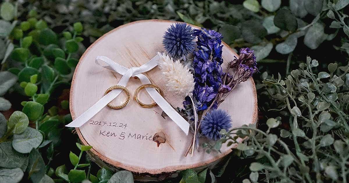 ウッドバーニング風切り株リングピローの作り方|結婚式DIY