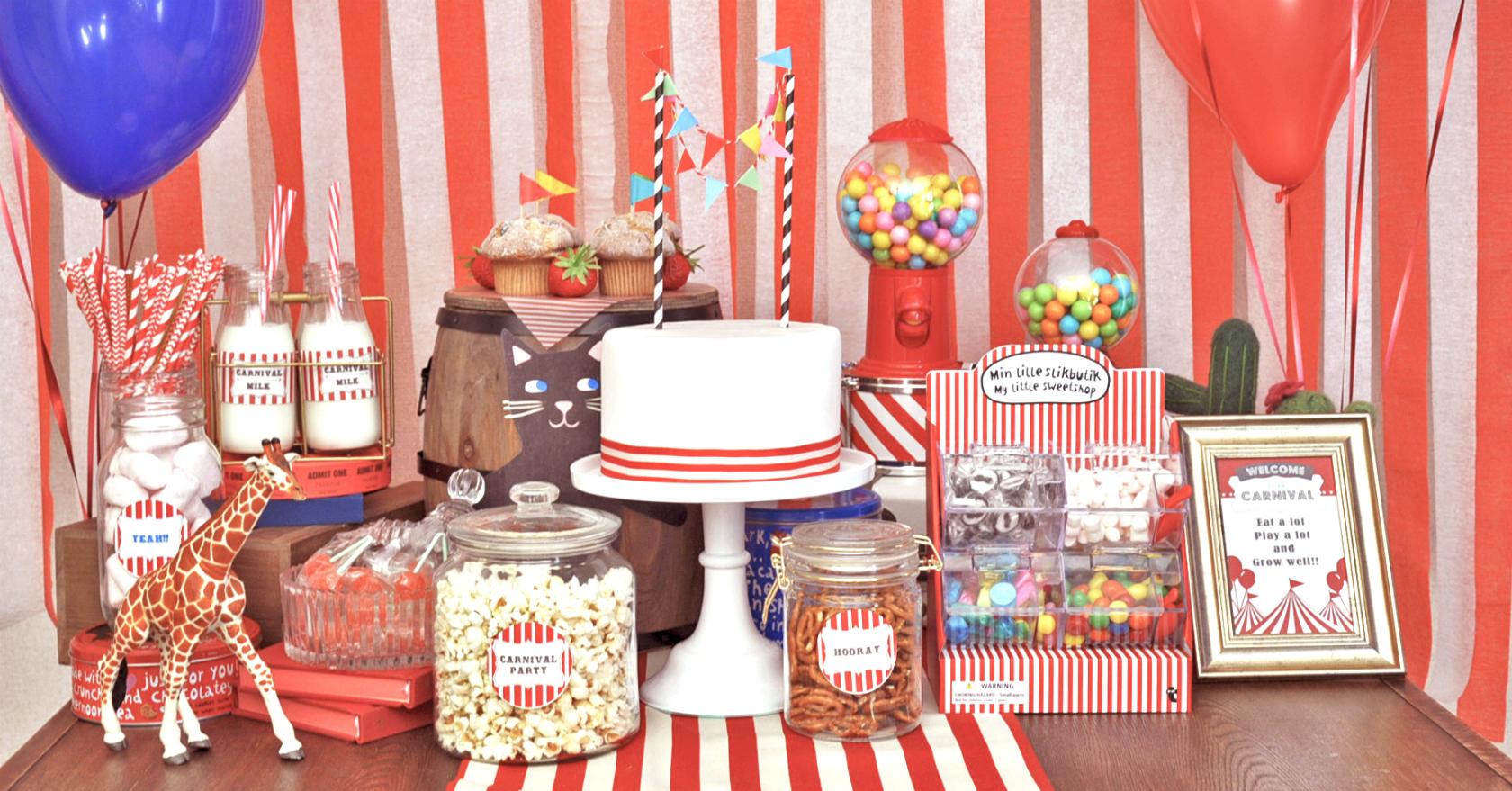 主役は子どもたち!カラフルお菓子パーティー「カーニバル」無料テンプレート