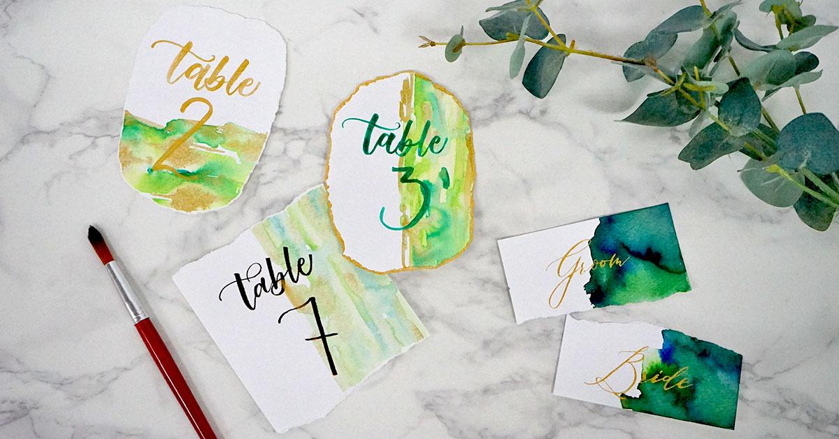 水彩レタリングでオシャレ可愛い結婚式テーブルナンバーを手作り!【無料練習シート】