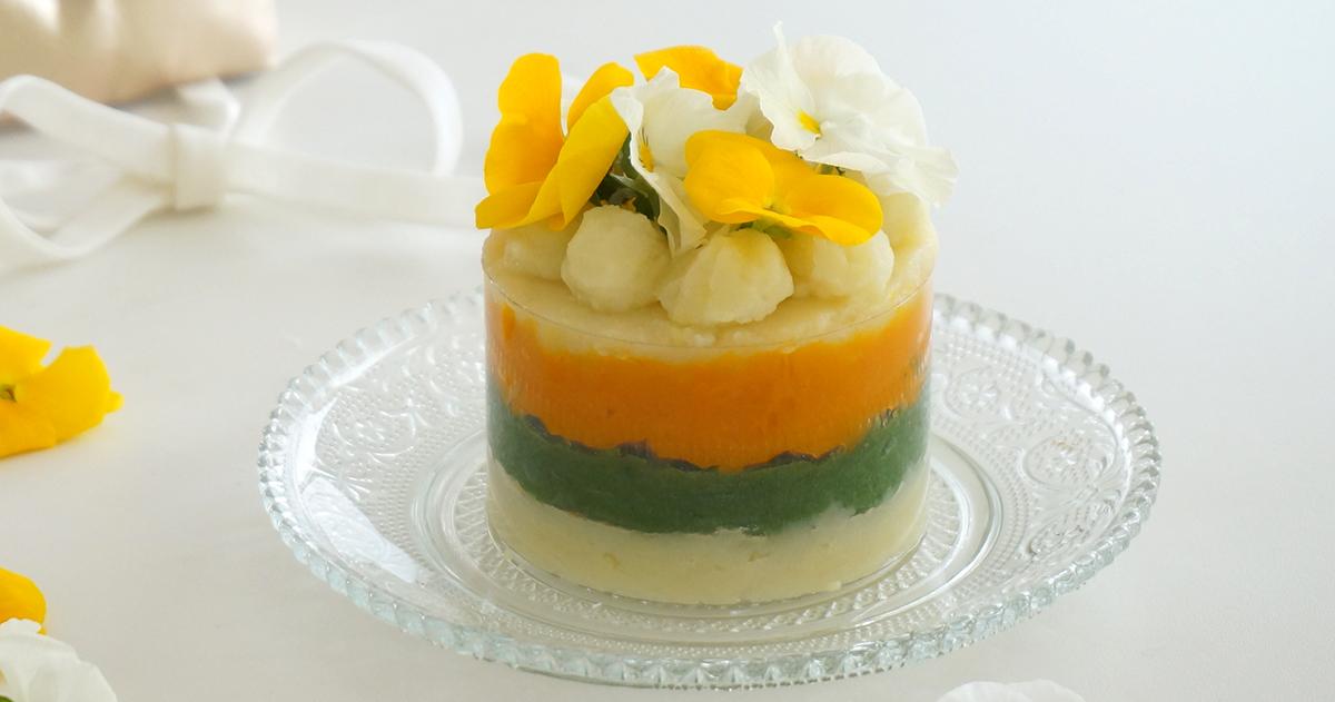 離乳食スタートのお祝いに♪安心蒸し野菜のハーフバースデーケーキ