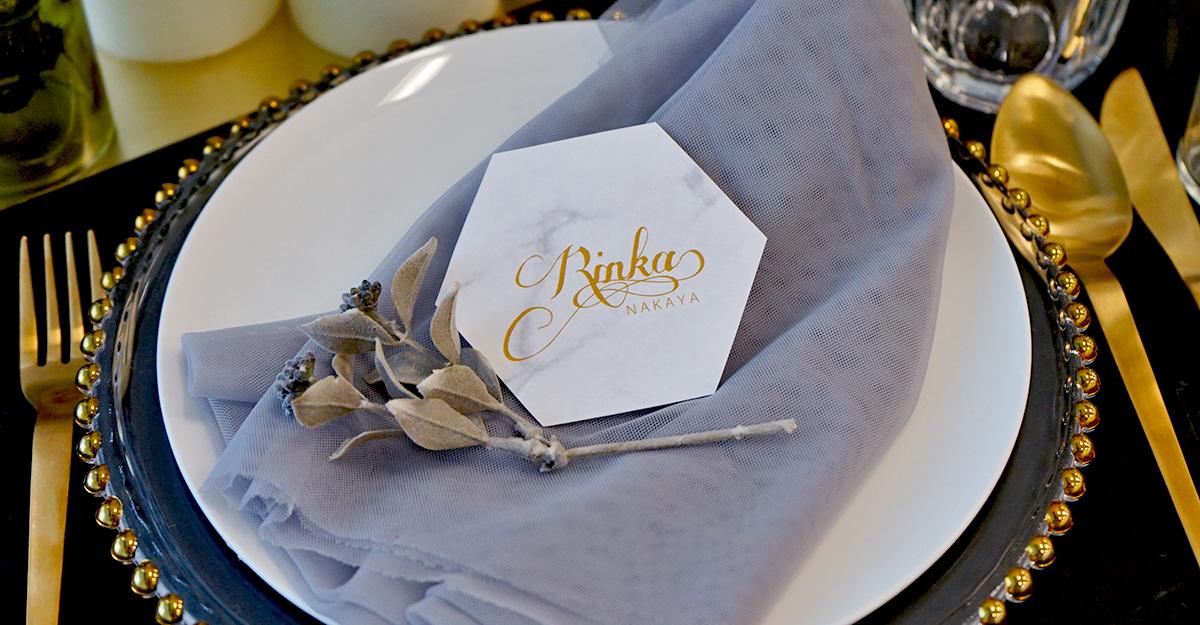 無料テンプレート|結婚式DIYに!トレンドの六角形・大理石風席札を簡単手作り