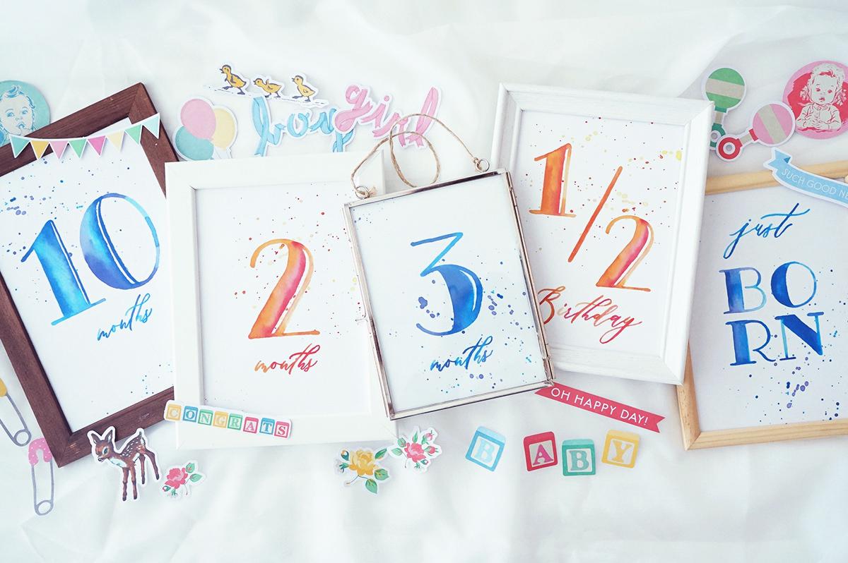 無料水彩月齢カード