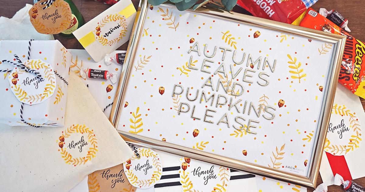 水彩デザインを活用した秋のテーブルコーディネート【無料テンプレート】