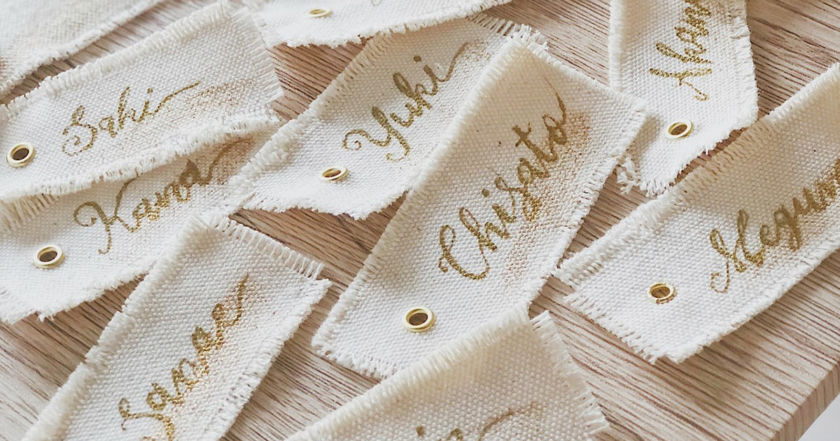 紙よりオシャレ?とっても簡単なキャンバス布で作る手作り席札