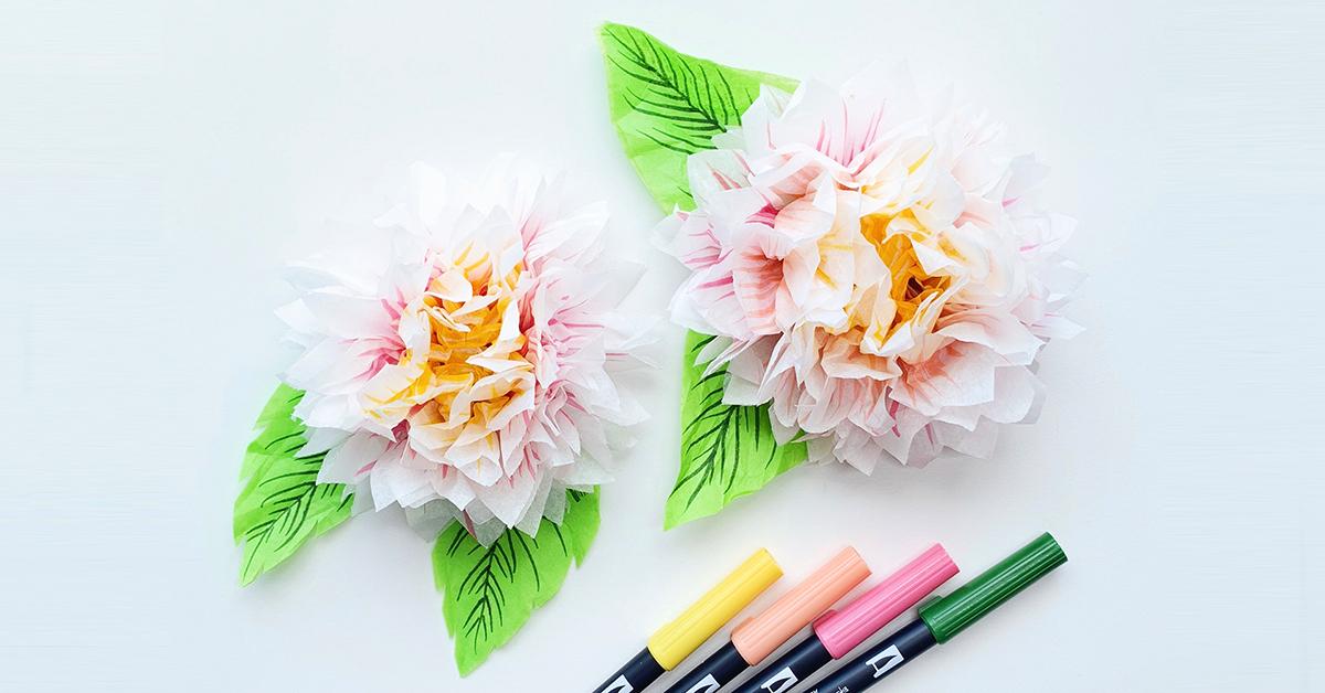飾り付けに使えるペーパーフラワー!薄紙とABTで華やかダリアの作り方