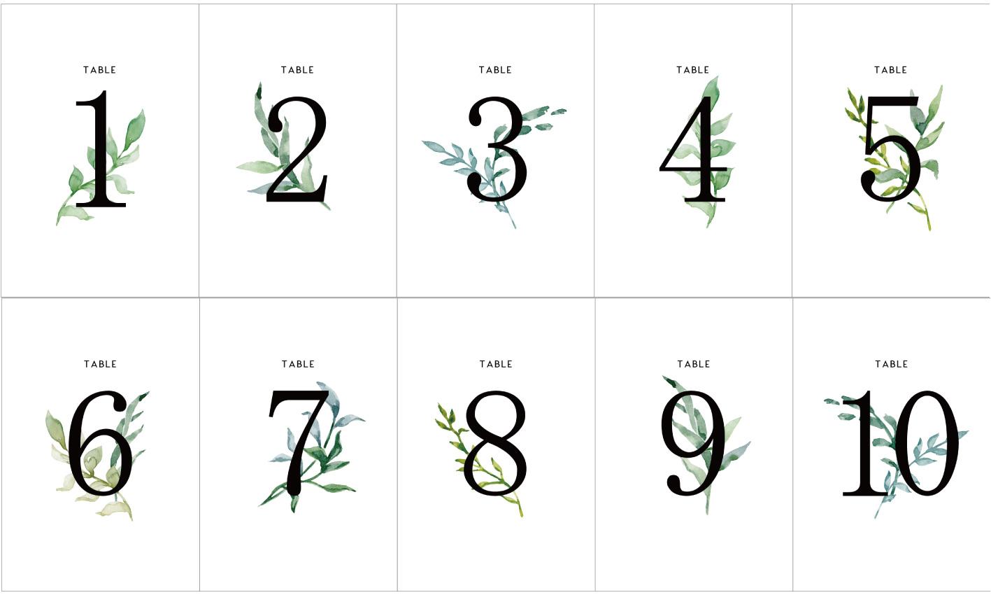 簡単手作り オシャレなボタニカルデザインのテーブルナンバー 無料テンプレート Arch Days