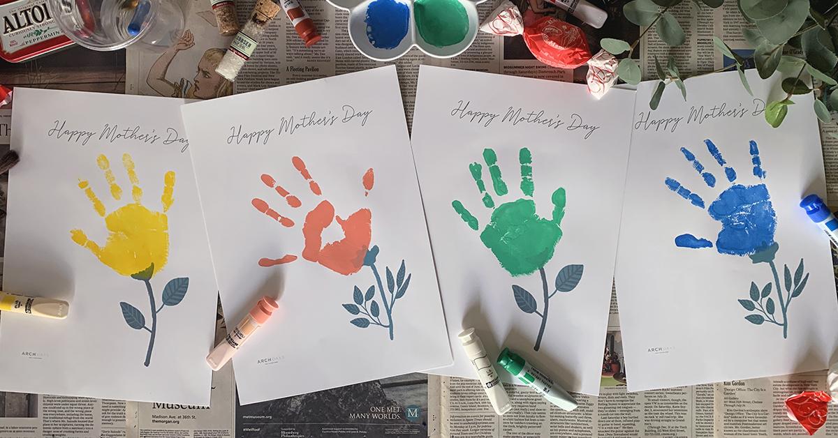 「母の日」記念に手形のお花を咲かせよう【無料テンプレート付き】