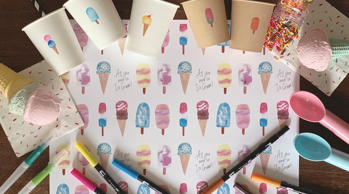 無料テンプレート|水彩アイスでサマーパーティーを可愛くデコレーション