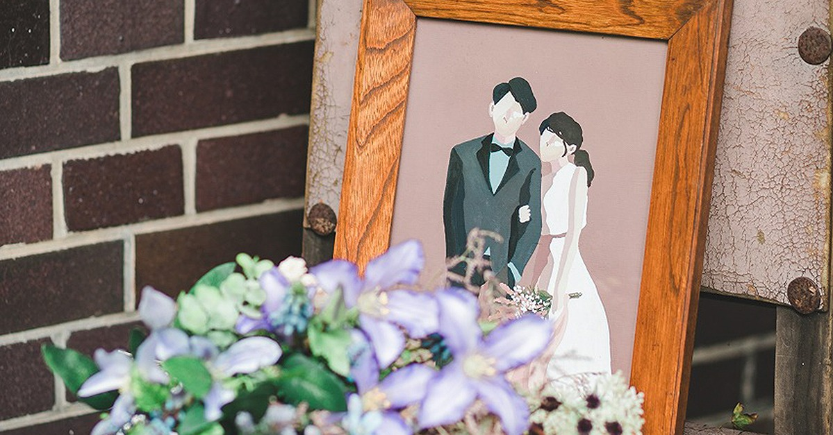 ウェルカムボードやペーパーアイテムに。「新郎新婦イラスト」の結婚式アイテム