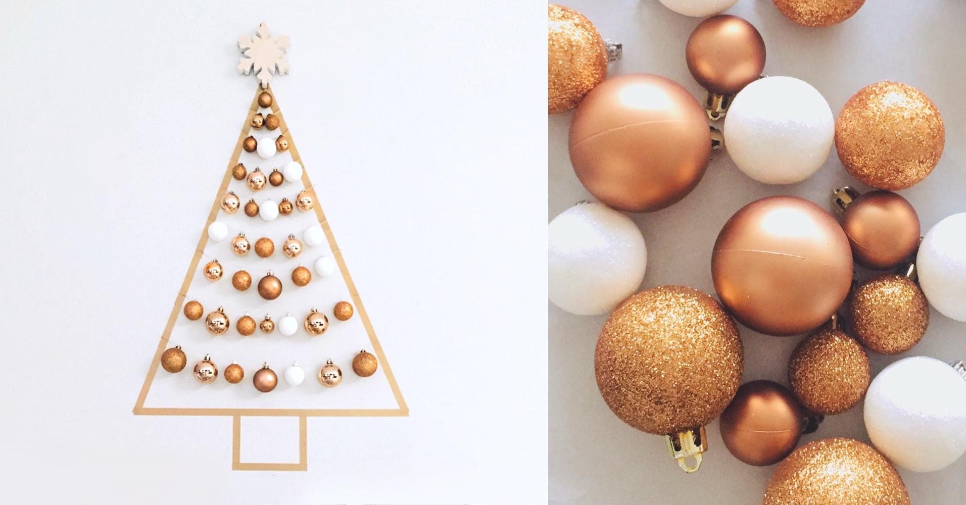 オーナメントを壁に飾り付け|クリスマスウォールツリーの作り方