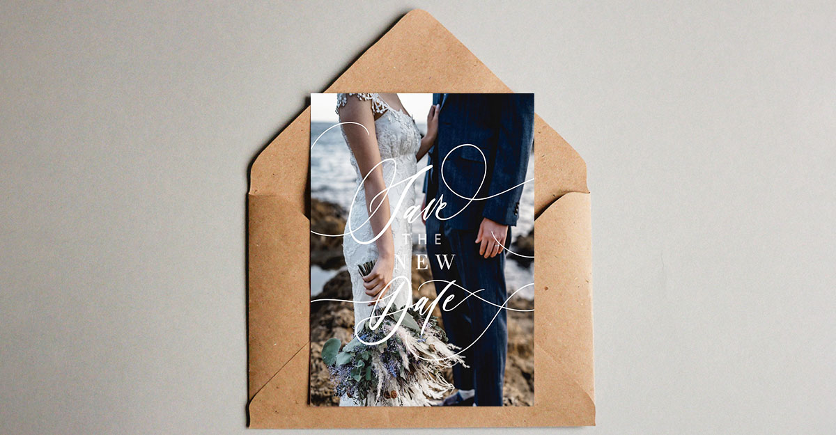 コロナ延期した結婚式のお知らせに。「save the new date」を送ろう|無料テンプレート