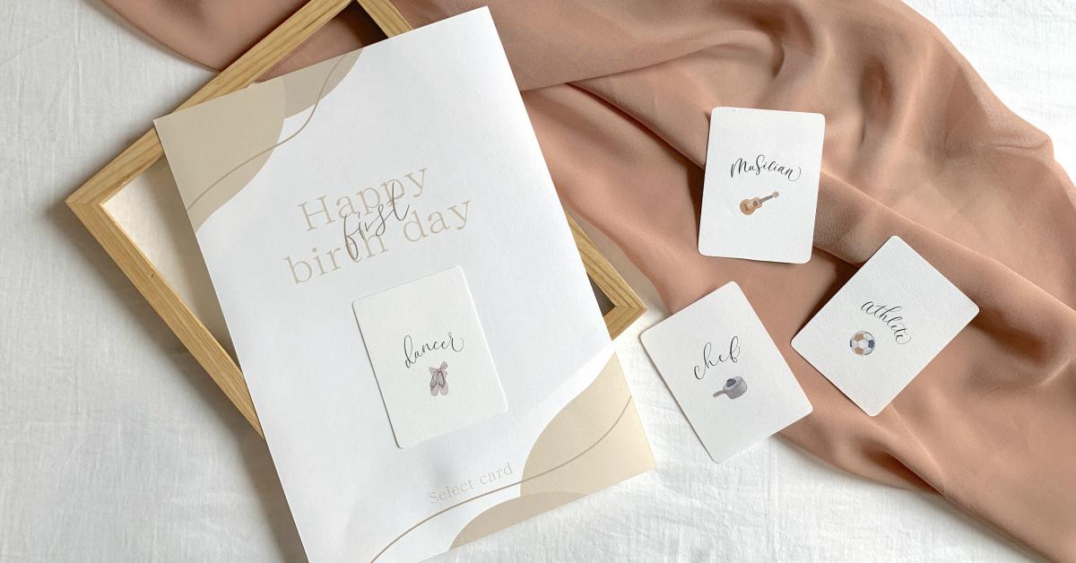 1歳のお誕生日に。印刷するだけ「選び取りカード台紙」無料テンプレート